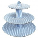 Cake Stand Gingham Blue