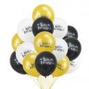 Harry Potter Ballonnen Zwart / Wit / Goud 15 Stuks